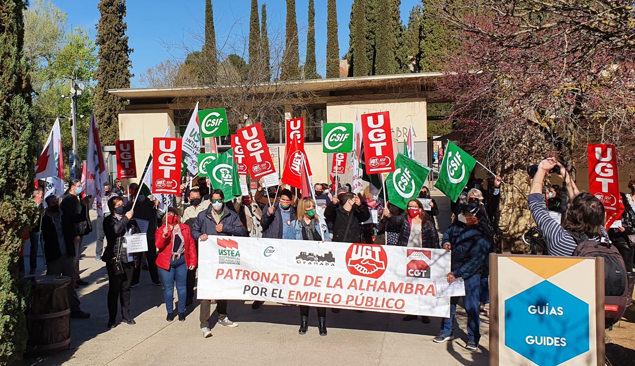 Continúan las movilizaciones del personal de la Alhambra en «defensa de sus derechos laborales»
