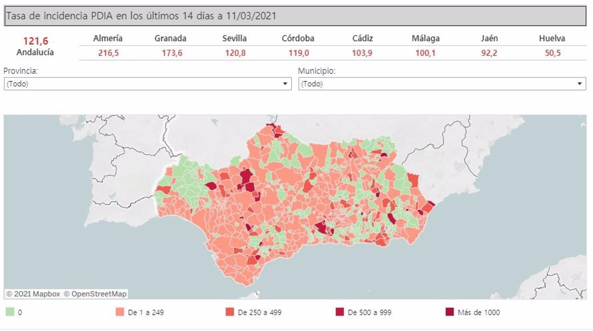 Ocho municipios de la provincia de Granada superan la tasa 500 y tres de ellos la 1000