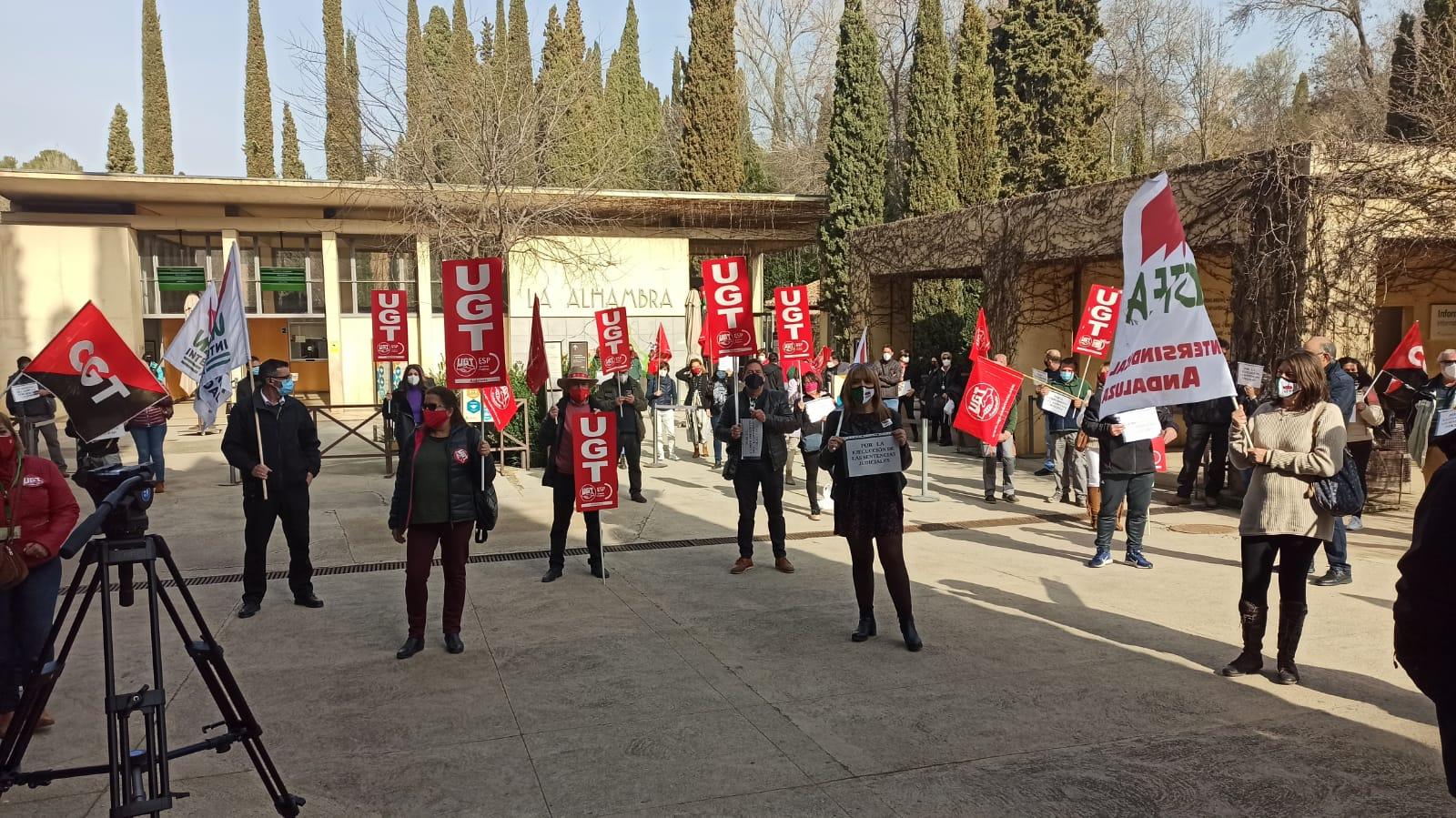 Los trabajadores del Patronato de la Alhambra y el Generalife protestan por el incumplimiento de sus derechos laborales