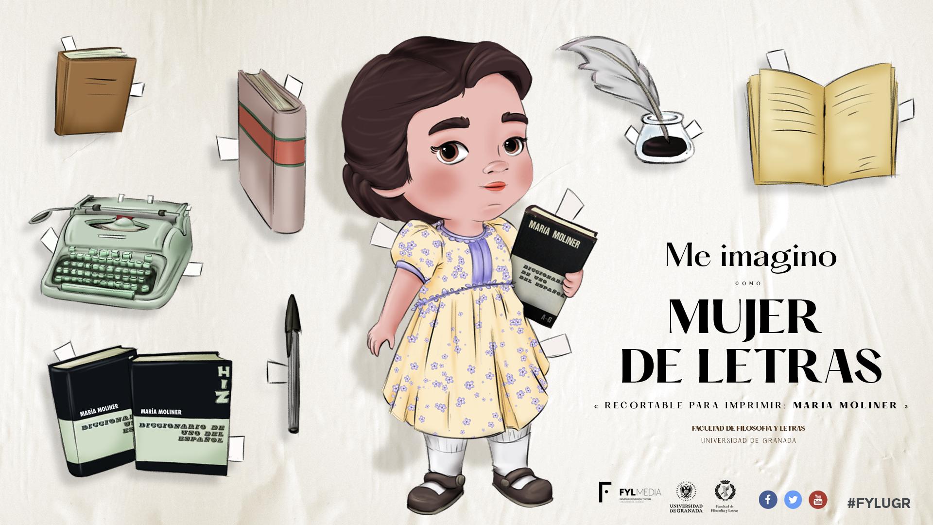"""La Facultad de Filosofía y Letras de la UGR lanza la campaña """"Me imagino como una mujer de letras"""" con un recortable de María Moliner"""
