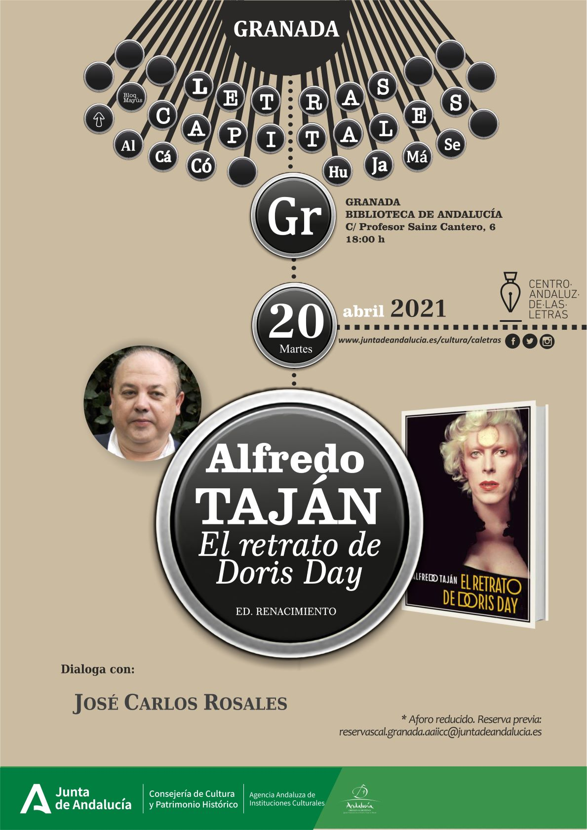 'El retrato de Doris Day', de Alfredo Taján, se presentará mañana en la Biblioteca de Andalucía