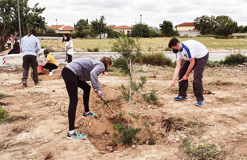 Estudiantes del IES Arabuleila de Cúllar Vega plantan árboles en el Camino de las Galeras