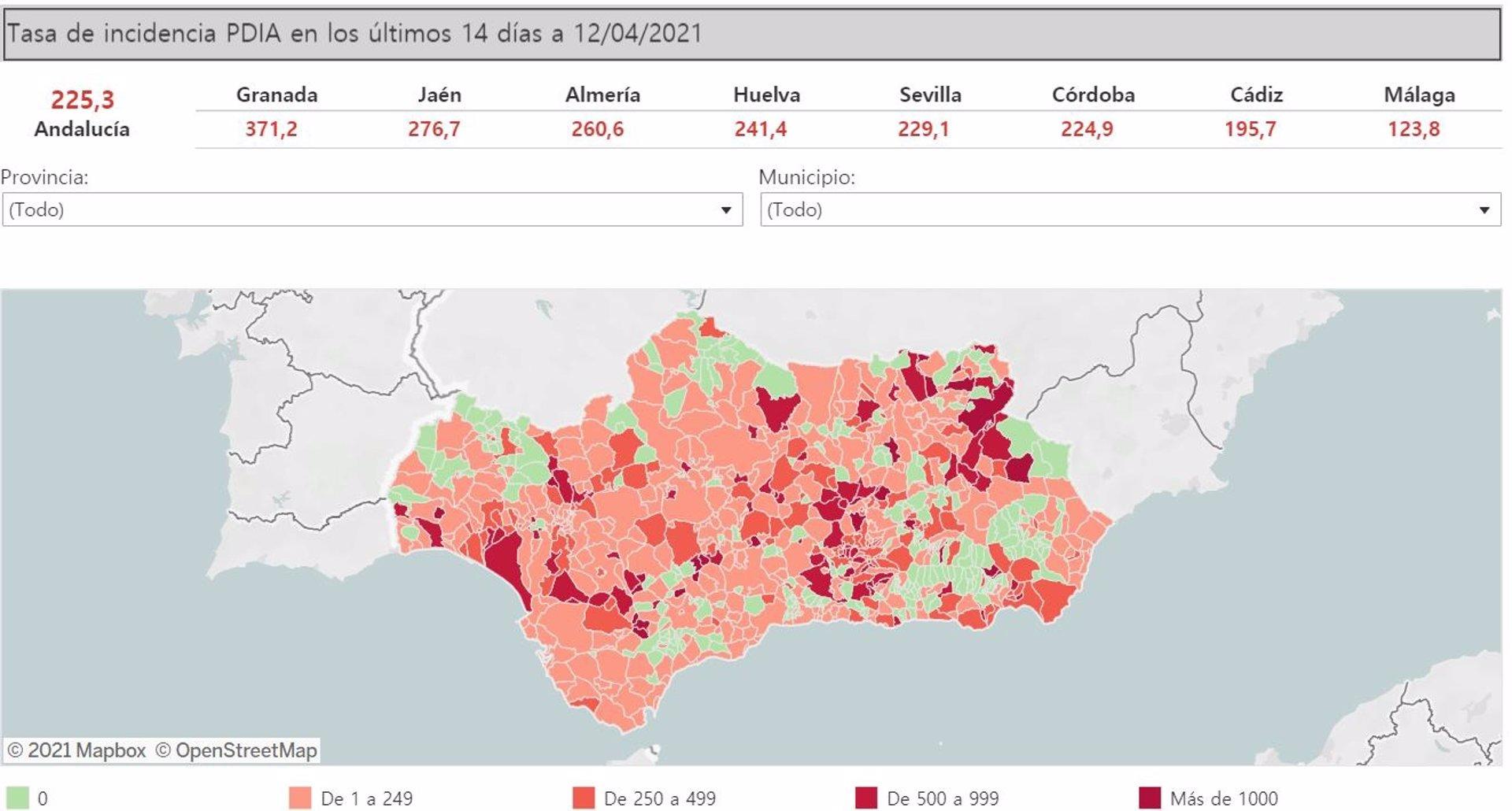 31 municipios de Granada superan este lunes la tasa 500 y nueve la de 1.000 casos