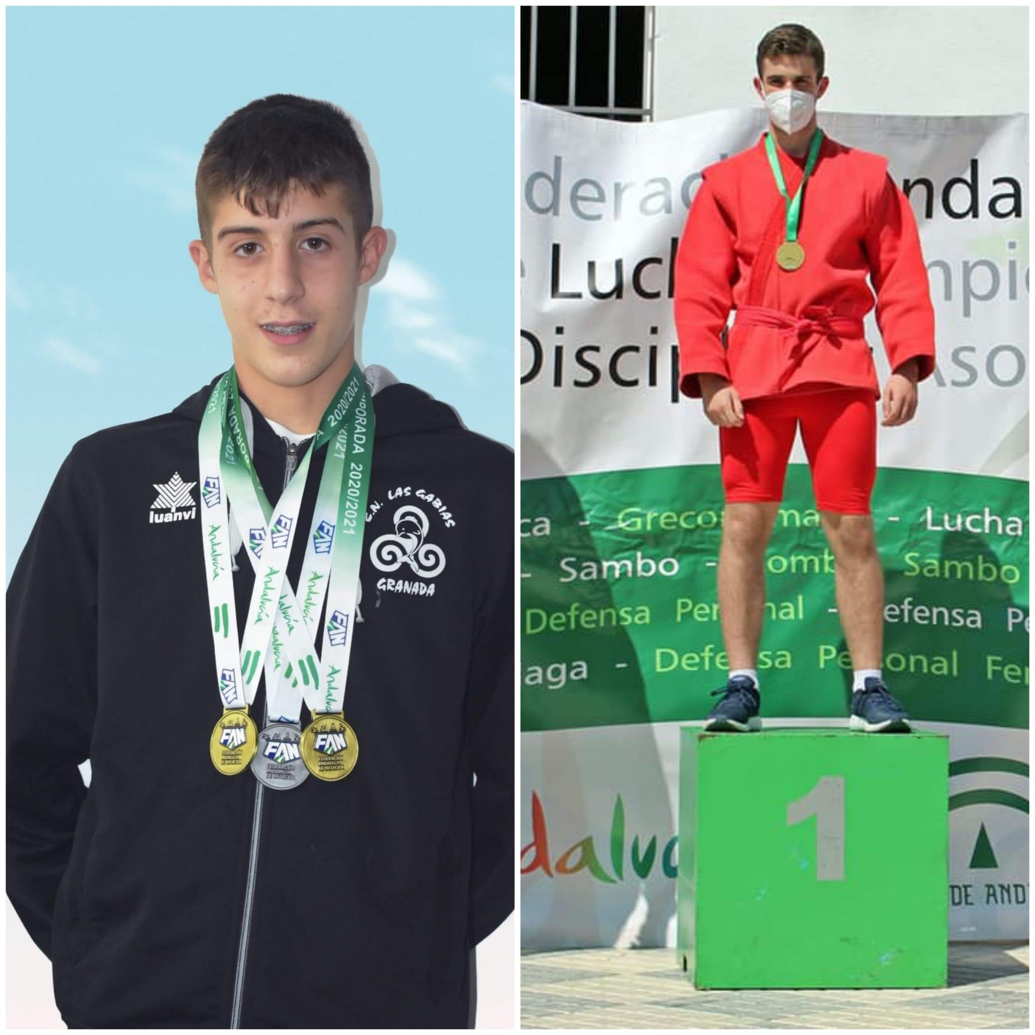 Los culleros Jorge Gómez y Hugo Molina, campeones de Andalucía en lucha sambo y natación estilo mariposa