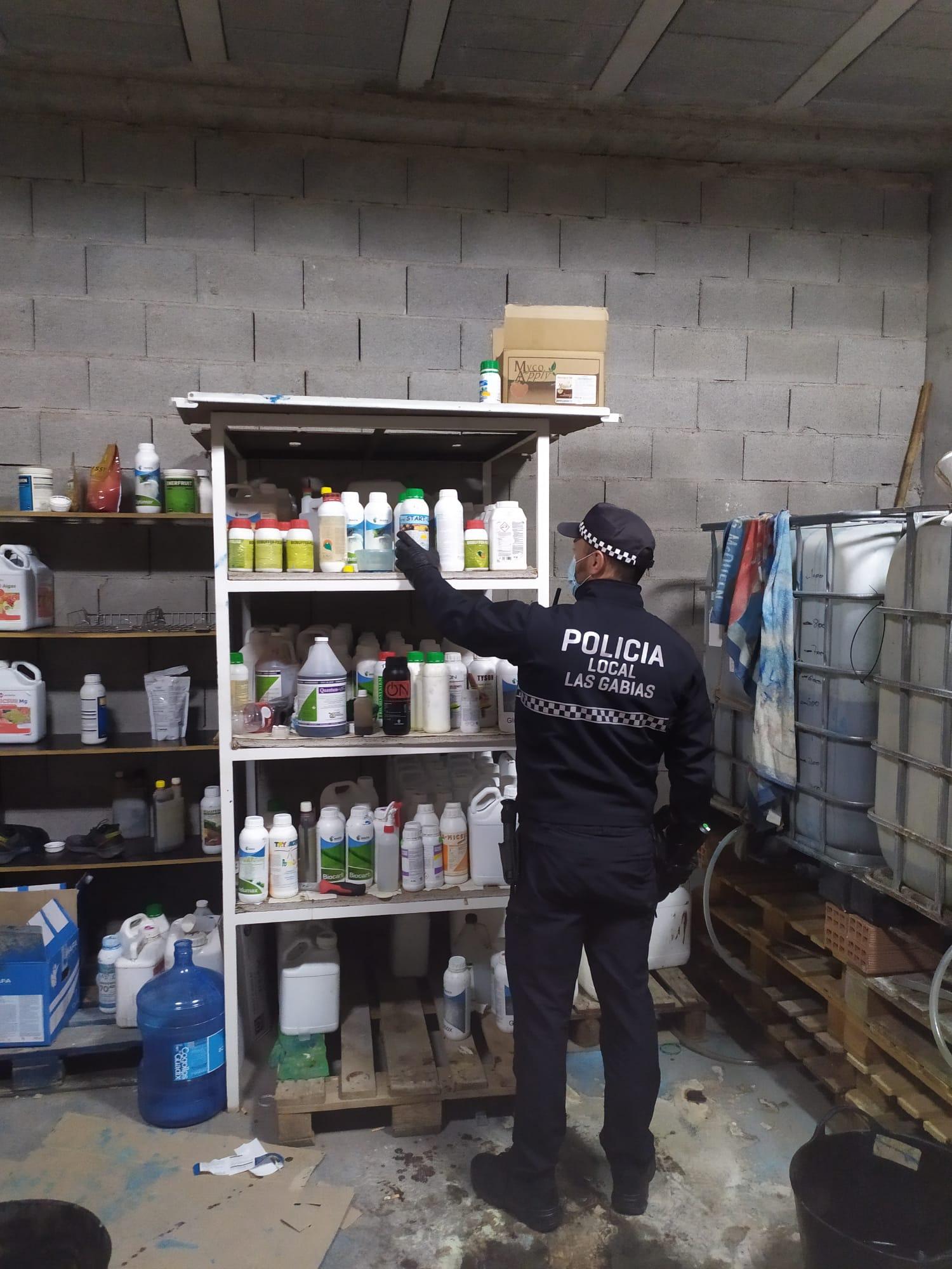 La Policía Local de Las Gabias localiza un laboratorio ilegal de productos químicos