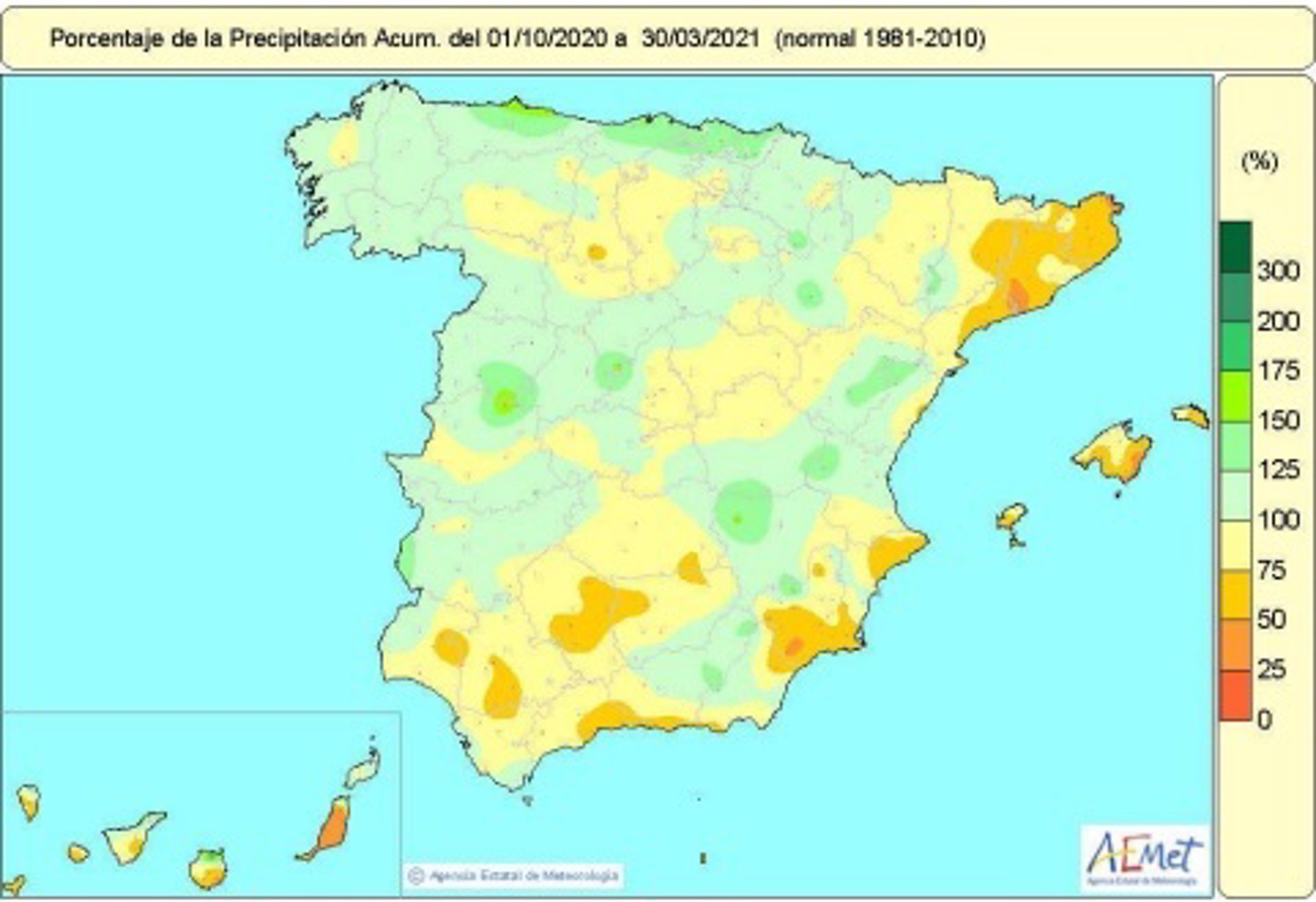 Las lluvias acumuladas en el primer semestre del año hidrológico en España se quedan un 5% por debajo de lo normal