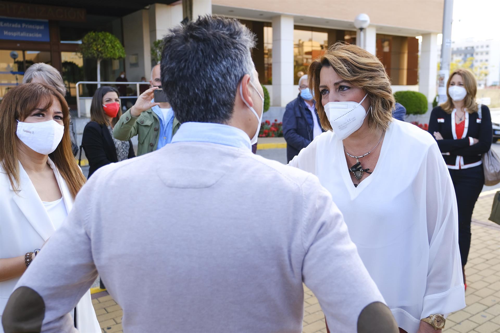 Susana Díaz pide que caiga «toda la carga de la ley» sobre los «delincuentes» que amenazan a Marlaska, Iglesias y Gámez