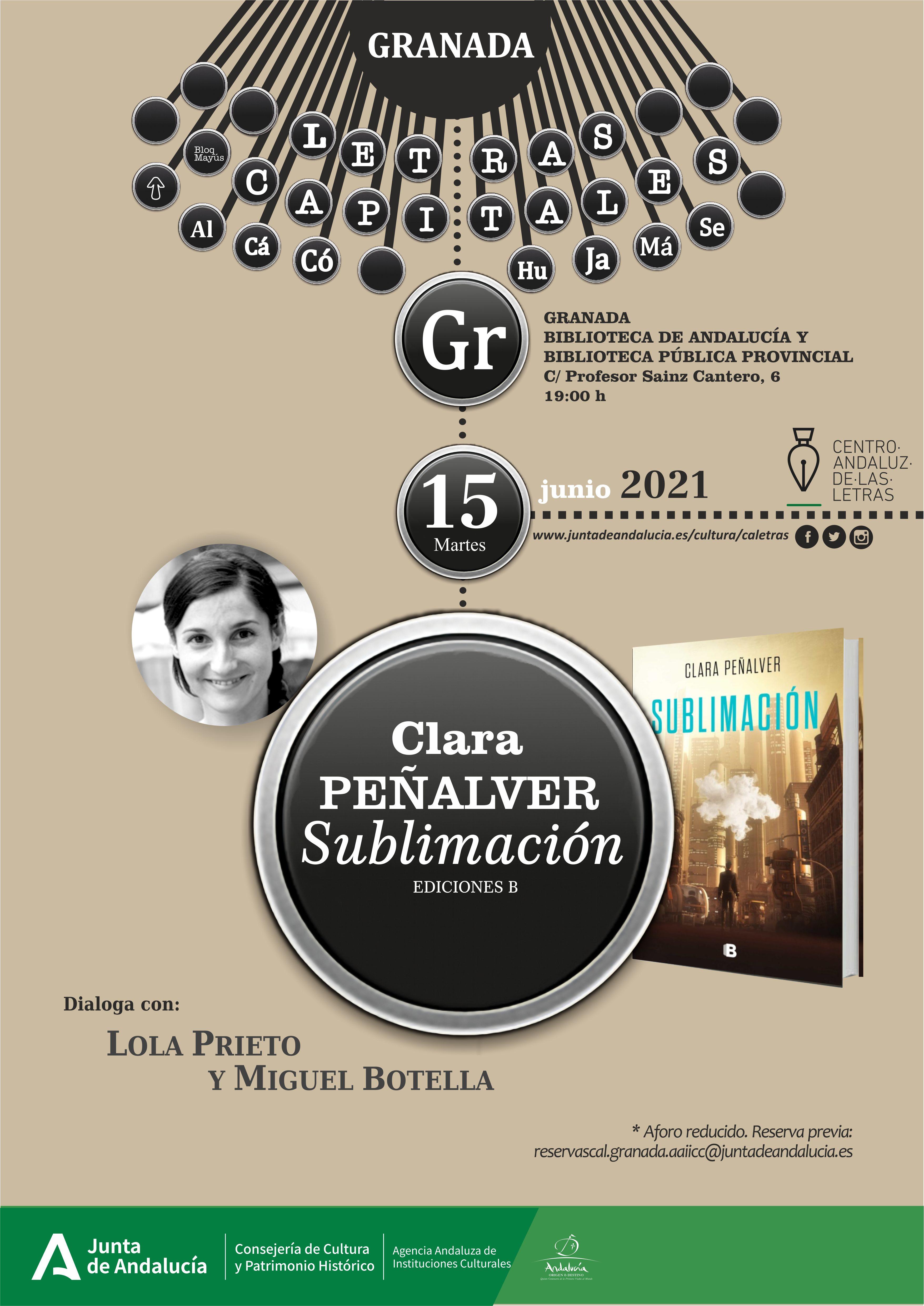El Centro Andaluz de las Letras presenta el libro 'Sublimación' de la escritora Clara Peñalver