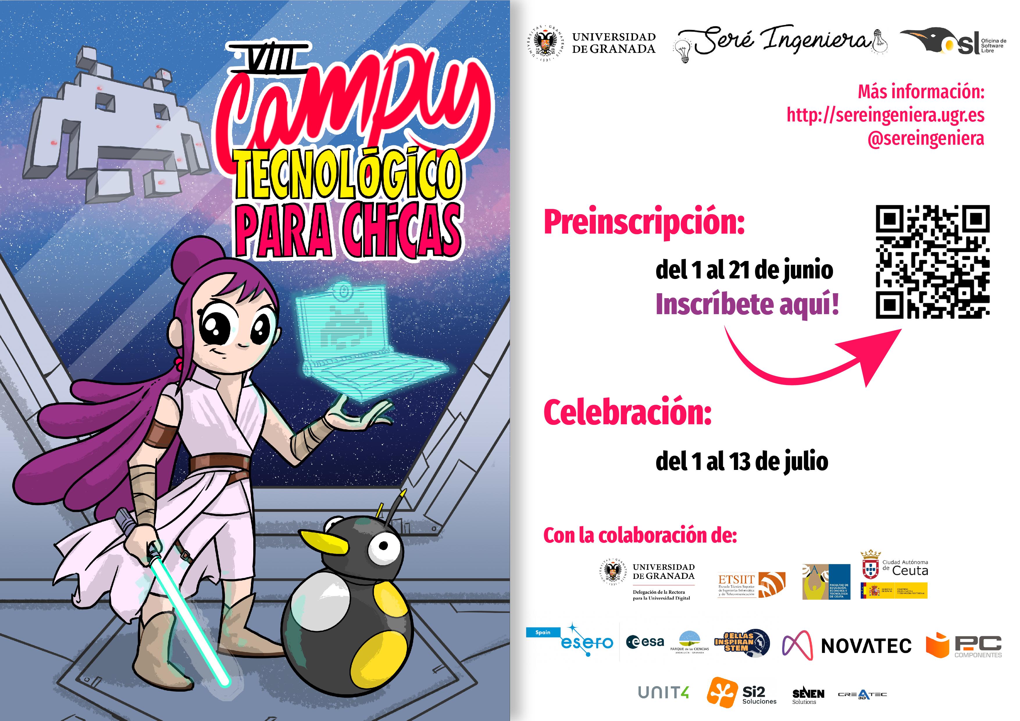 Abierto el plazo de inscripción para el VIII Campus Tecnológico para Chicas con sedes en Granada y Ceuta de la UGR
