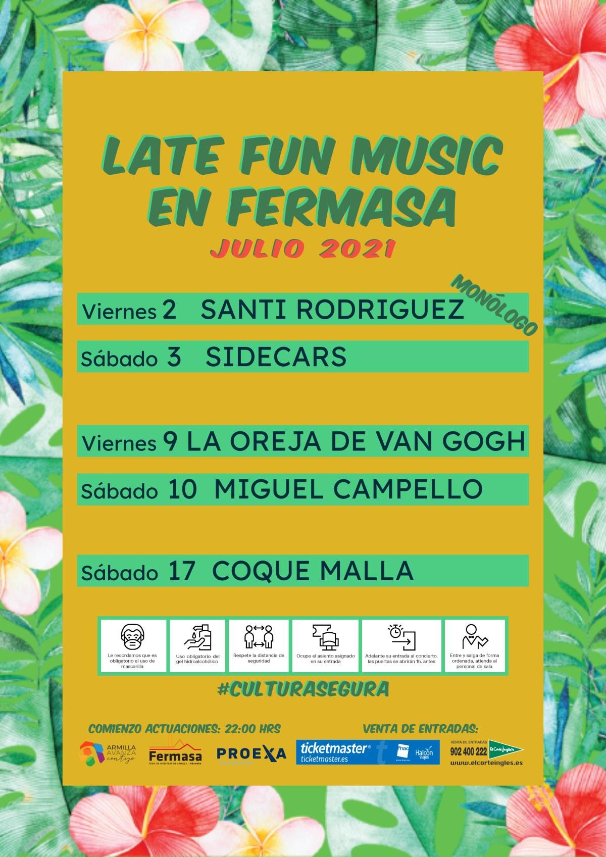 El ciclo 'Late Fun Music» traerá a Fermasa a Sidecars, La Oreja de Van Gogh, Miguel Campello, Coque Malla y Santi Rodríguez