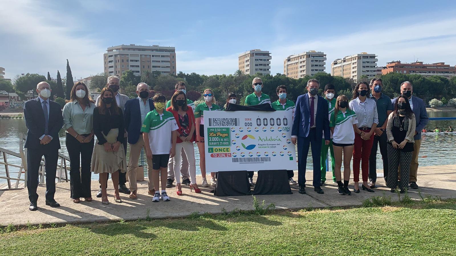 Andalucía Región Europea del Deporte, imagen del cupón de la ONCE del 10 de junio