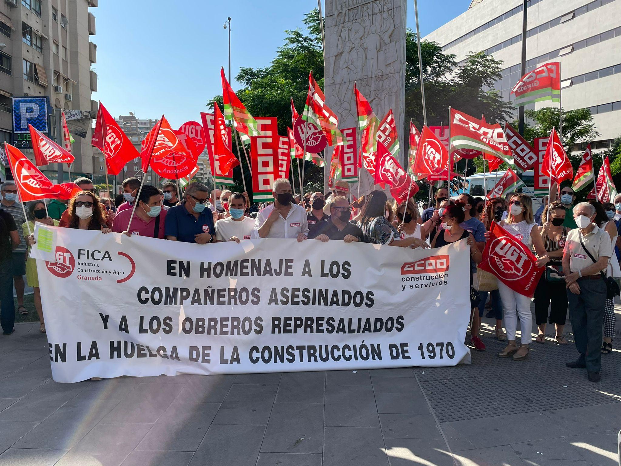 UGT y CCOO recuerdan a Antonio, Cristóbal y Manuel, asesinados hace 51 años en la Huelga Obrera del 1970