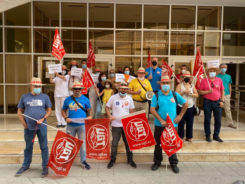 Los trabajadores del servicio de vigilancia del SEPE protestan por el impago de cuatro nóminas