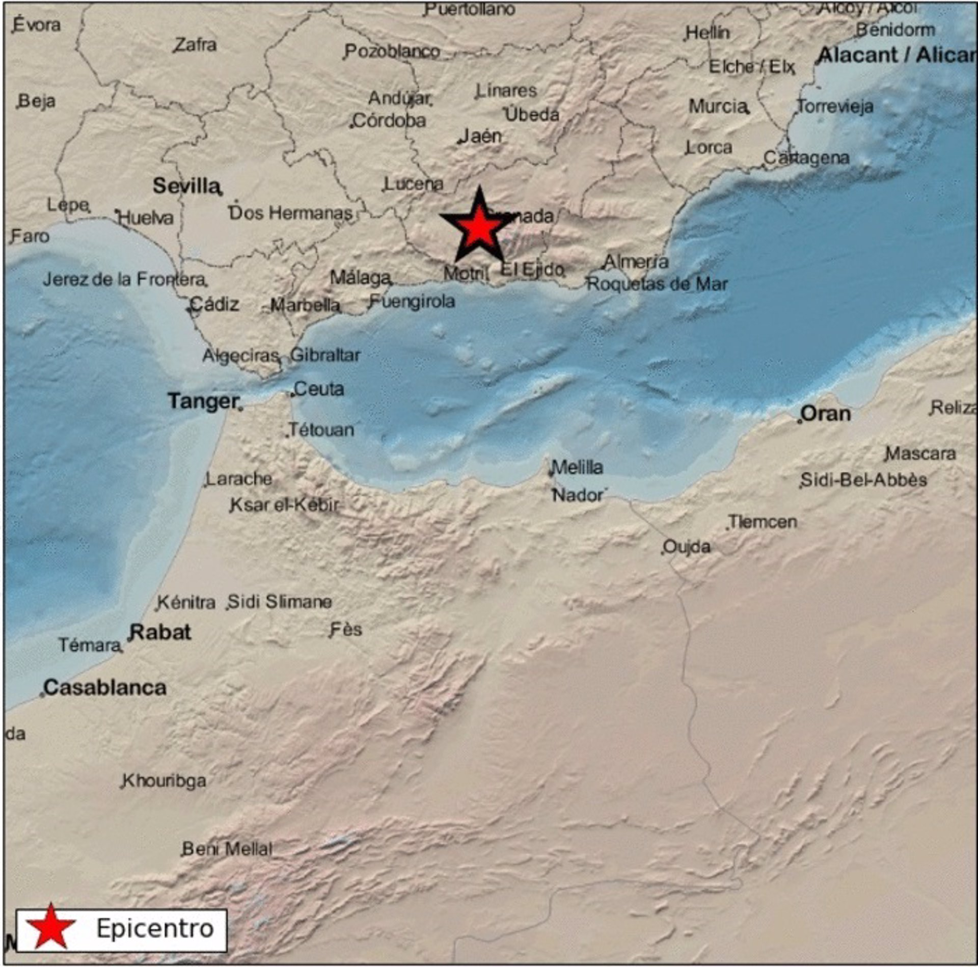 Registrados cinco seísmos en la provincia, el último de magnitud 2,5 y epicentro en Huétor Vega