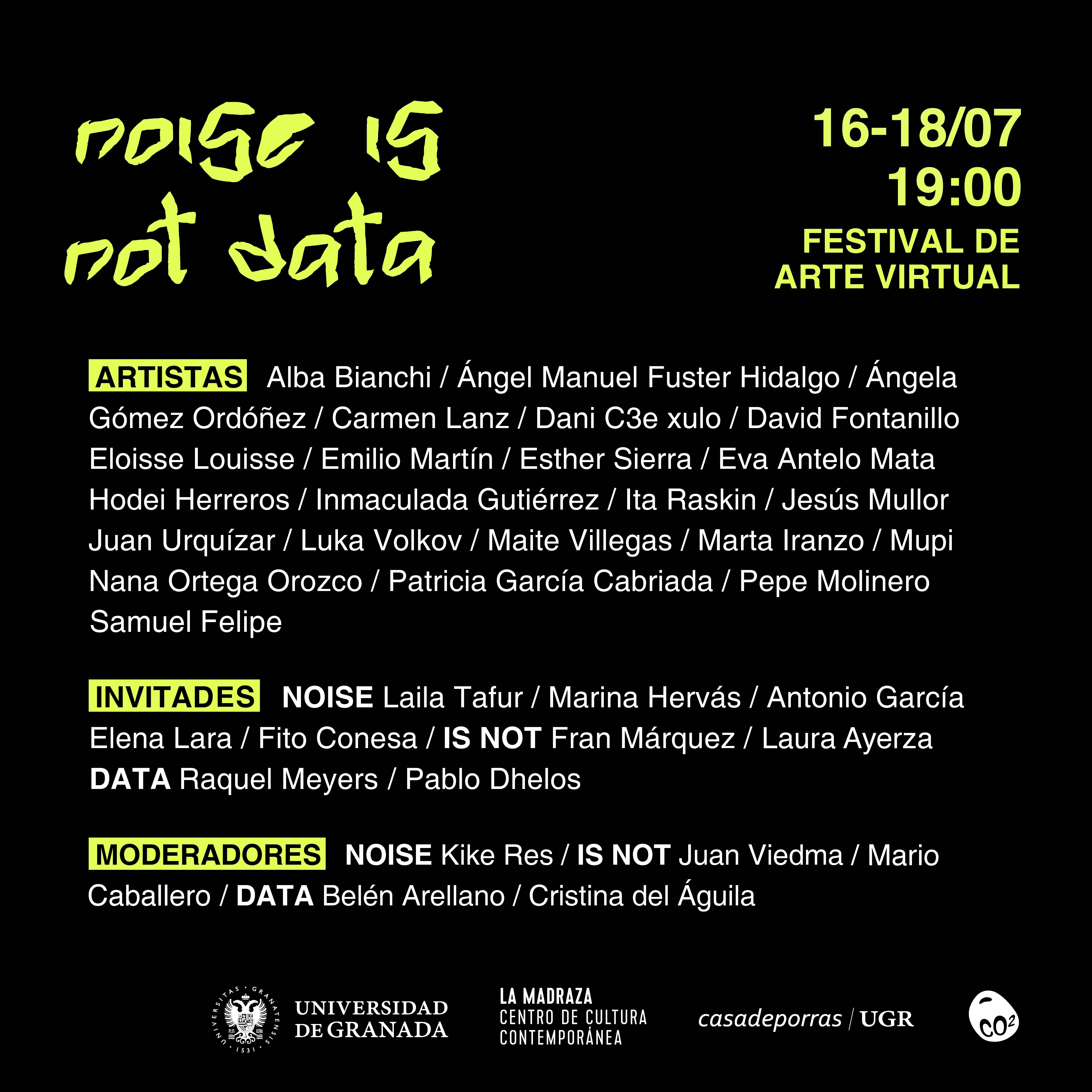 El festival de arte virtual 'Noise is not data' celebra su segunda edición