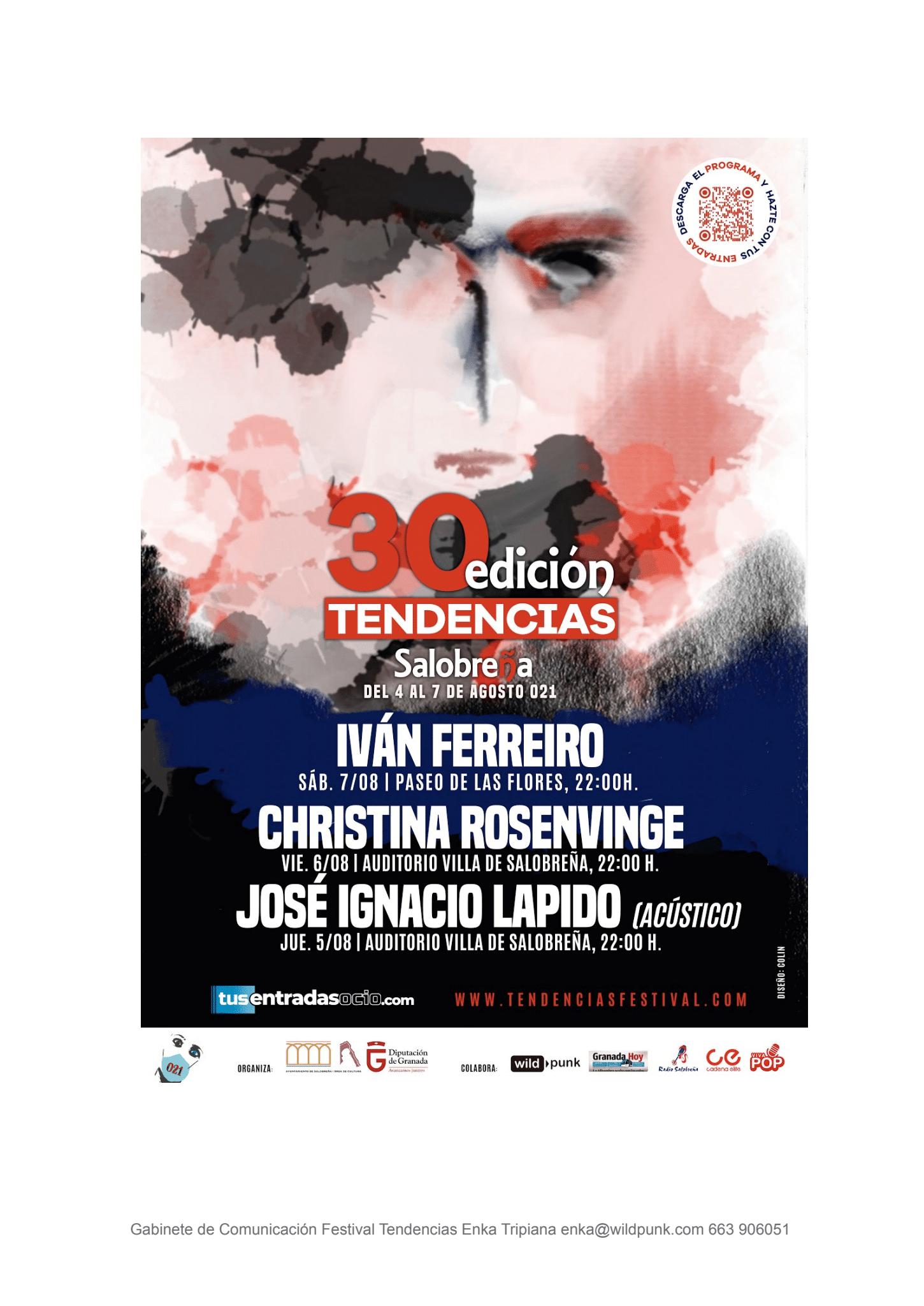 Ivan Ferreiro, Lapido y Cristina Rosenvinge este año en el Tendencias de Salobreña