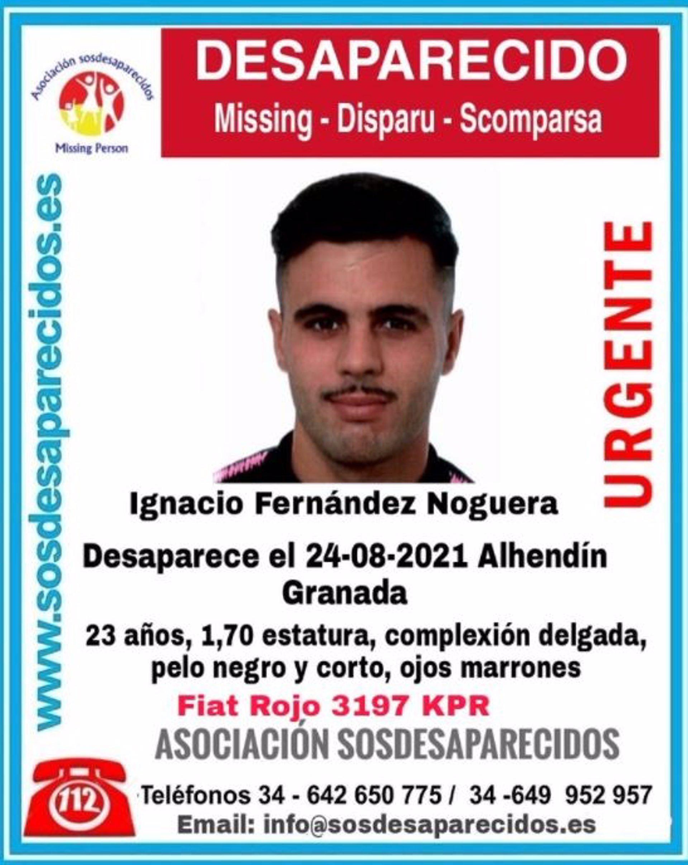 Continúan investigando la desaparición de Nacho, el joven de Alhendín al que se perdió la pista hace 25 días