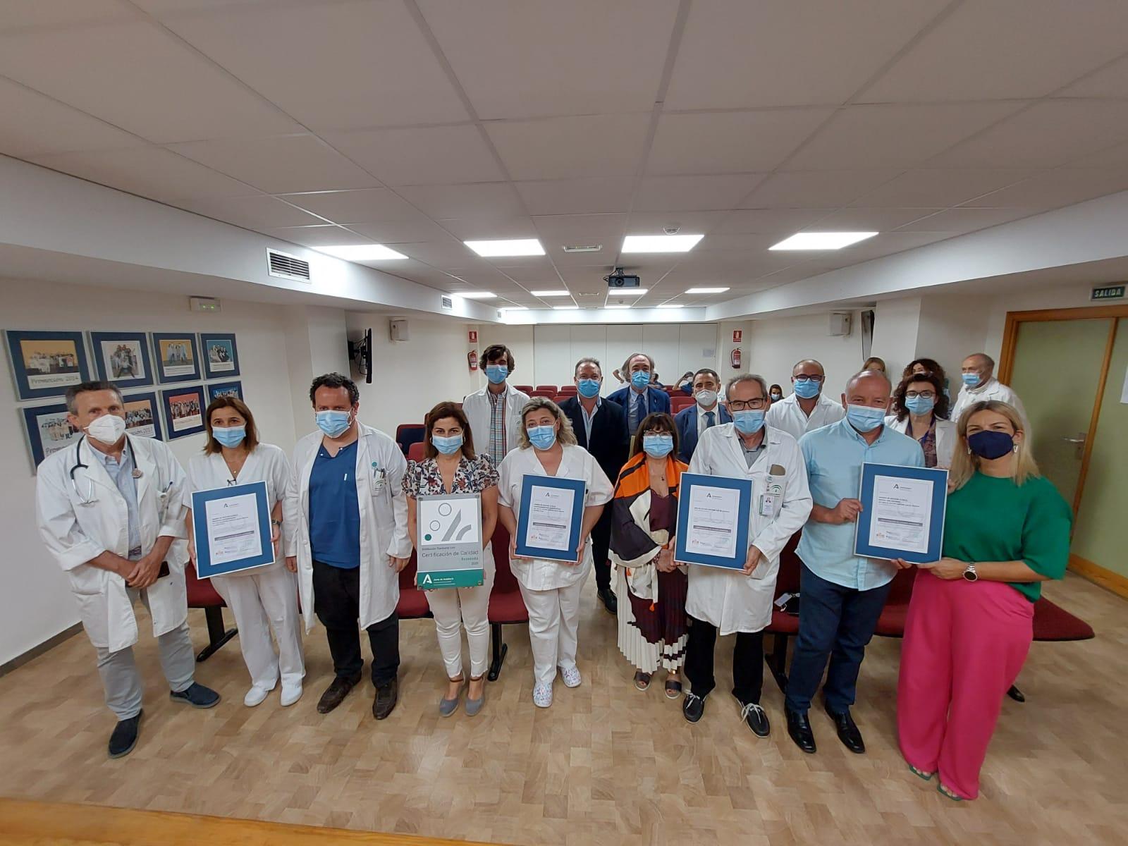 El Área de Gestión Sanitaria Sur de Granada recibe la primera certificación de calidad de Andalucía como institución sanitaria