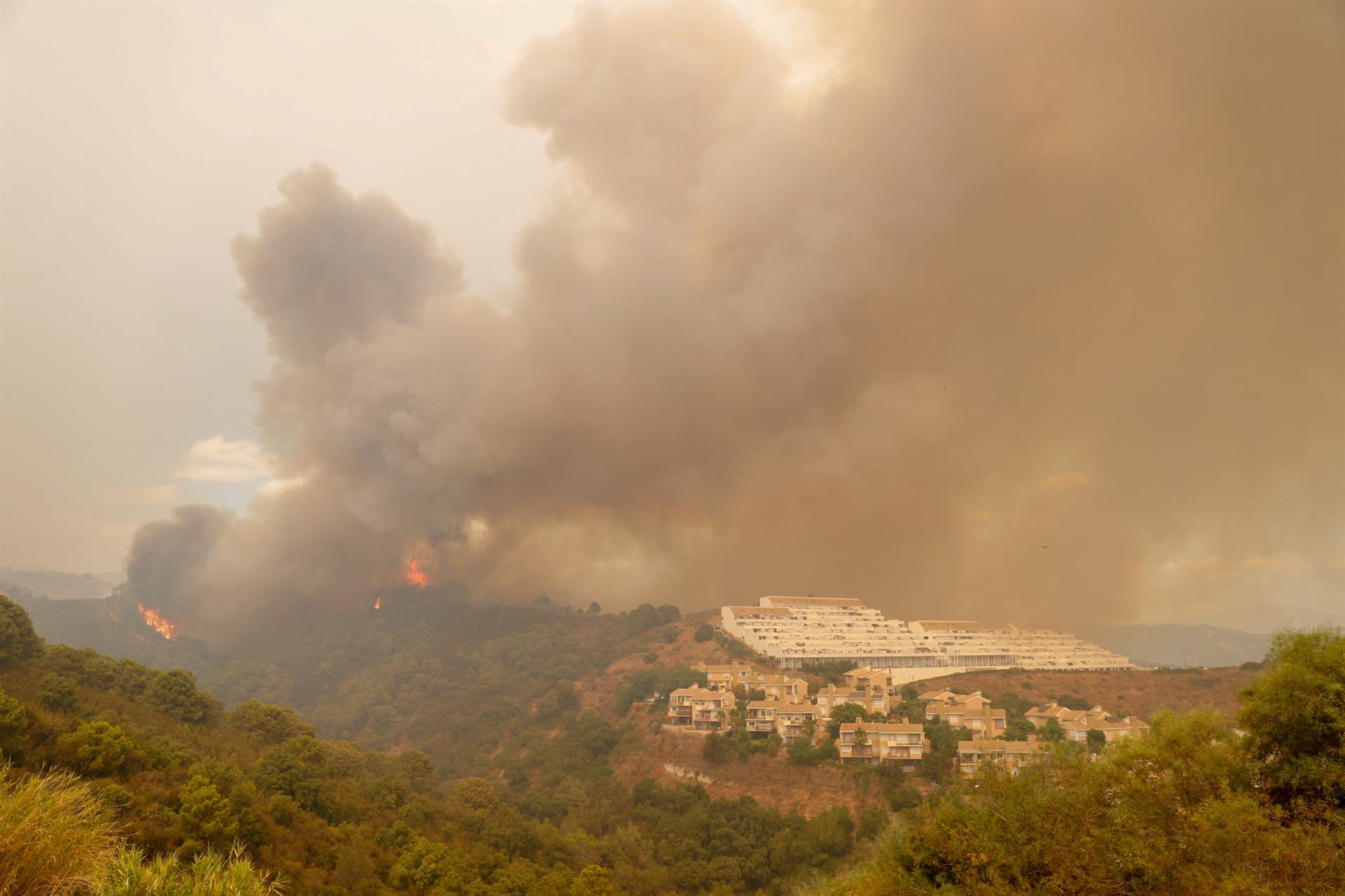 Unos 300 efectivos siguen lucha contra incendio en Sierra Bermeja, que afecta a 3.600 hectáreas